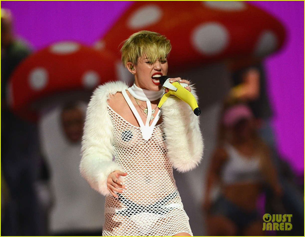 miley cyrus sings wrecking ball in nearly nude outfit video 232957242