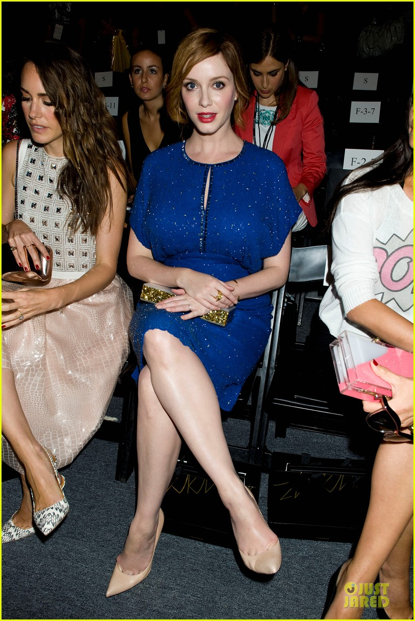 christina hendricks louise roe jenny packham fashion show 102949796