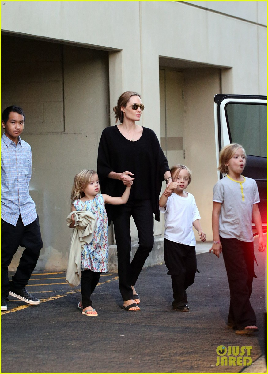 angelina jolie goes bowling in australia with all six kids 082949247