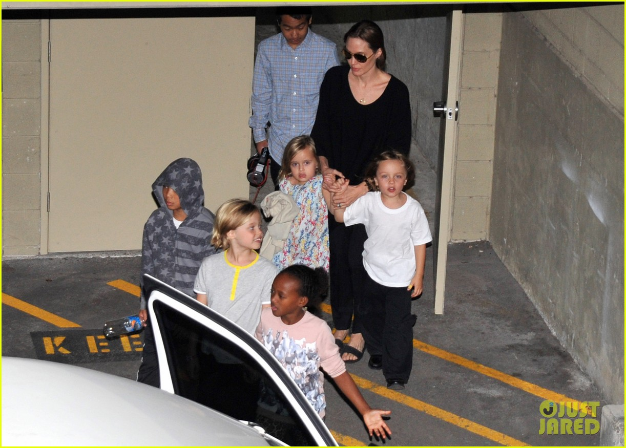 angelina jolie goes bowling in australia with all six kids 132949252