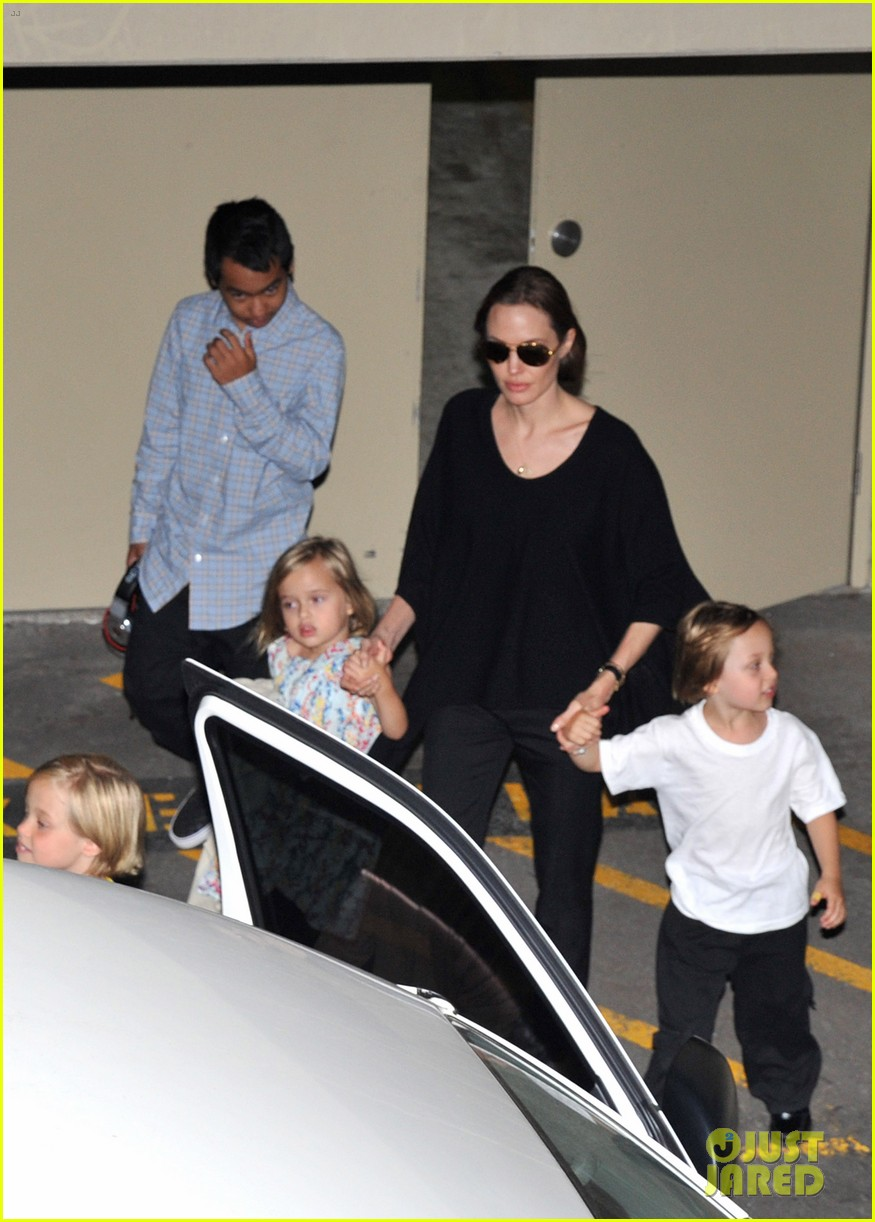 angelina jolie goes bowling in australia with all six kids 14
