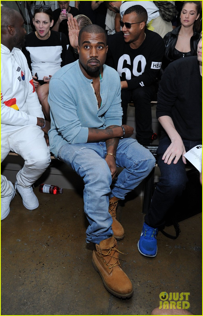 kanye west front row at hood by air fashion show 08