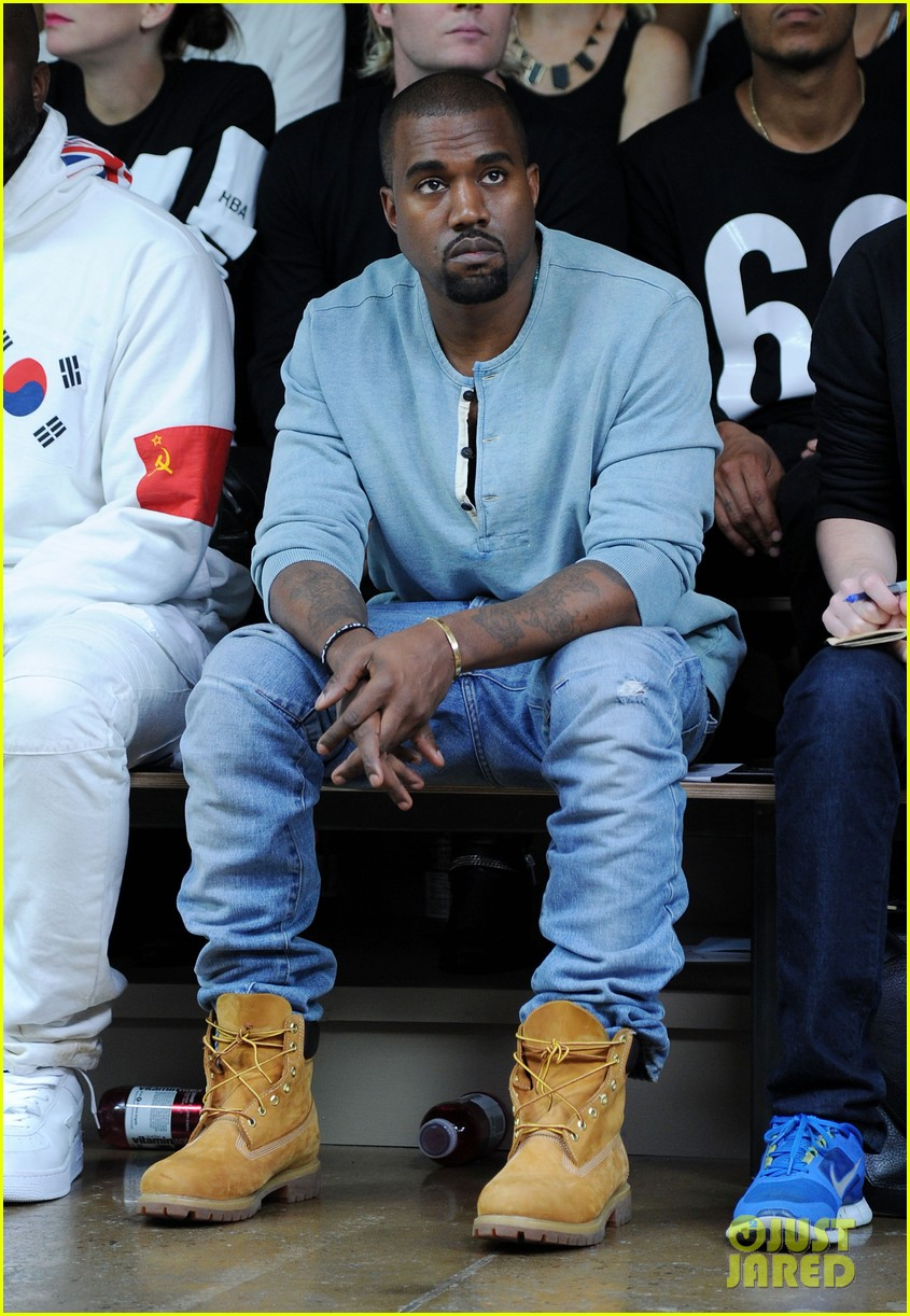 kanye west front row at hood by air fashion show 092947149