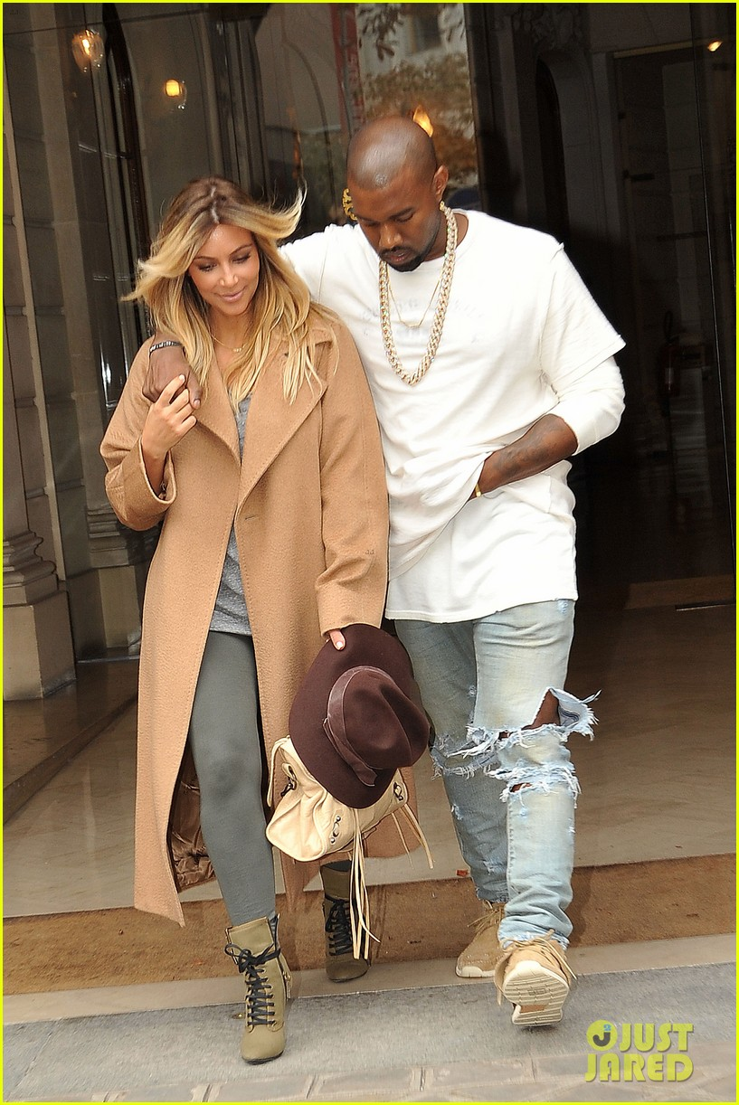 kim kardashian kanye west step out together in paris 182961540