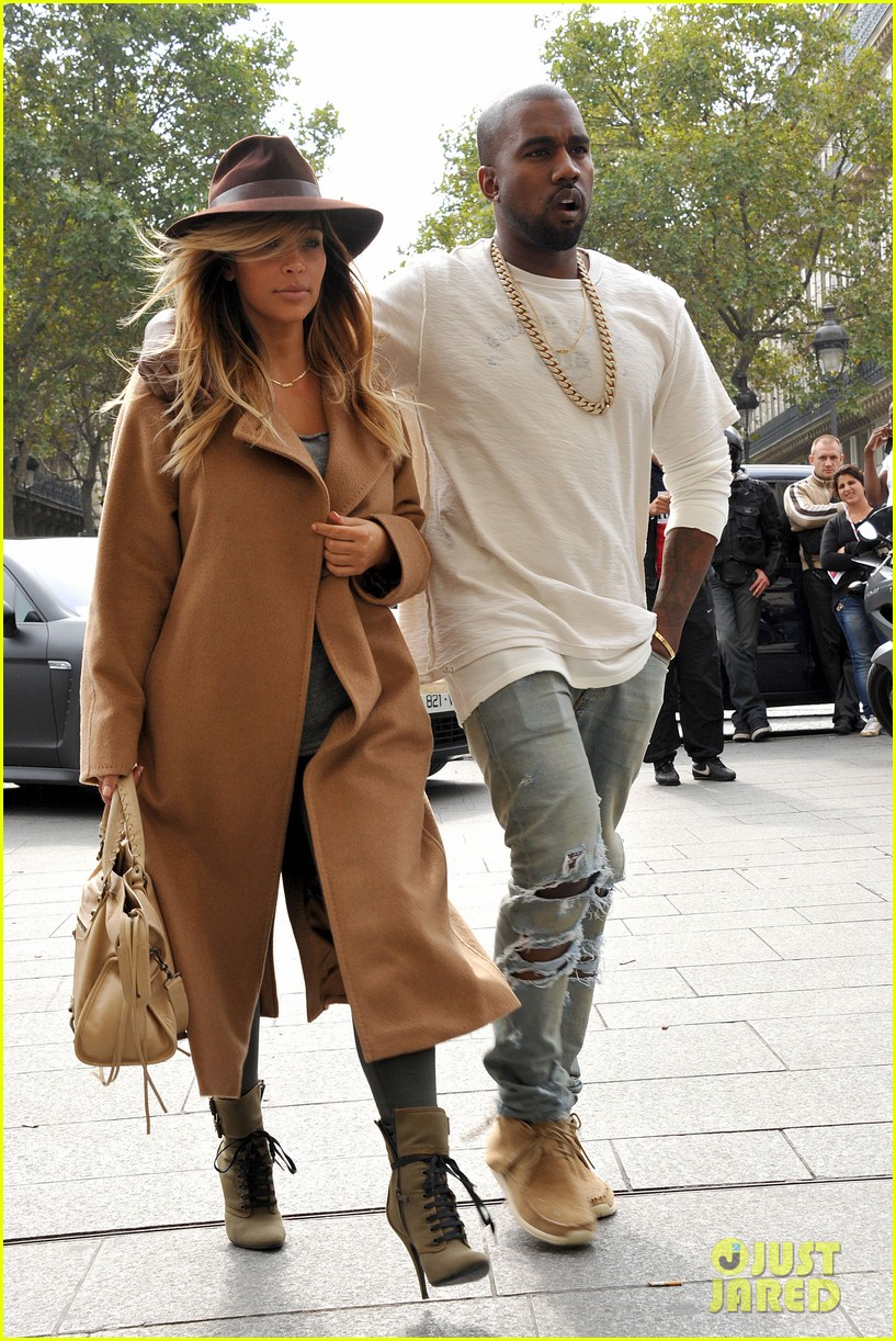 kim kardashian kanye west step out together in paris 222961544