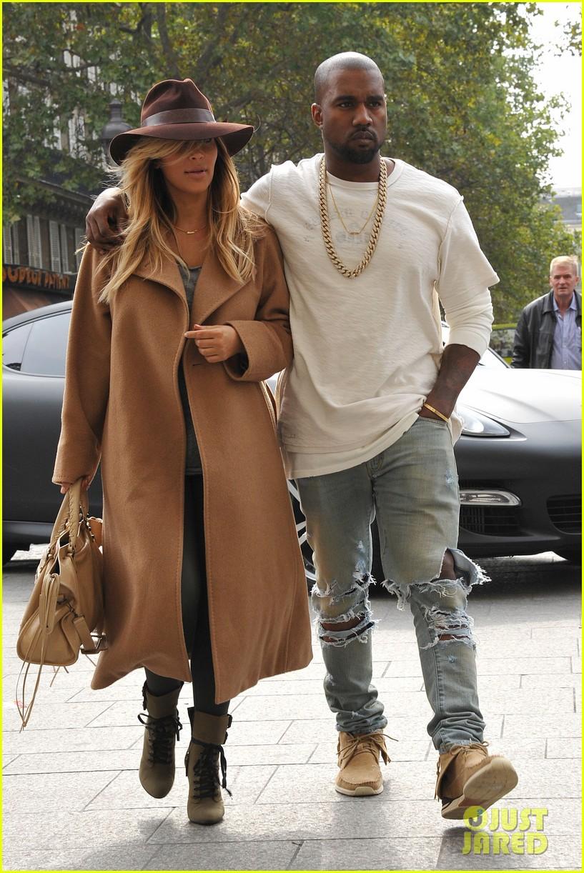 kim kardashian kanye west step out together in paris 242961546