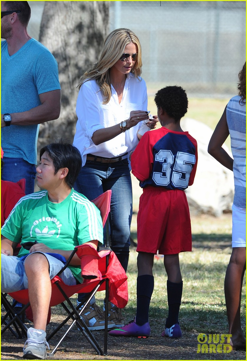 heidi klum tends to henry bloody nose soccer game 172962699