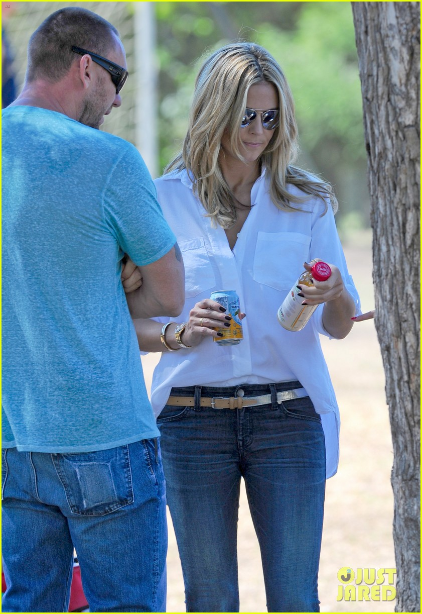 heidi klum tends to henry bloody nose soccer game 182962700