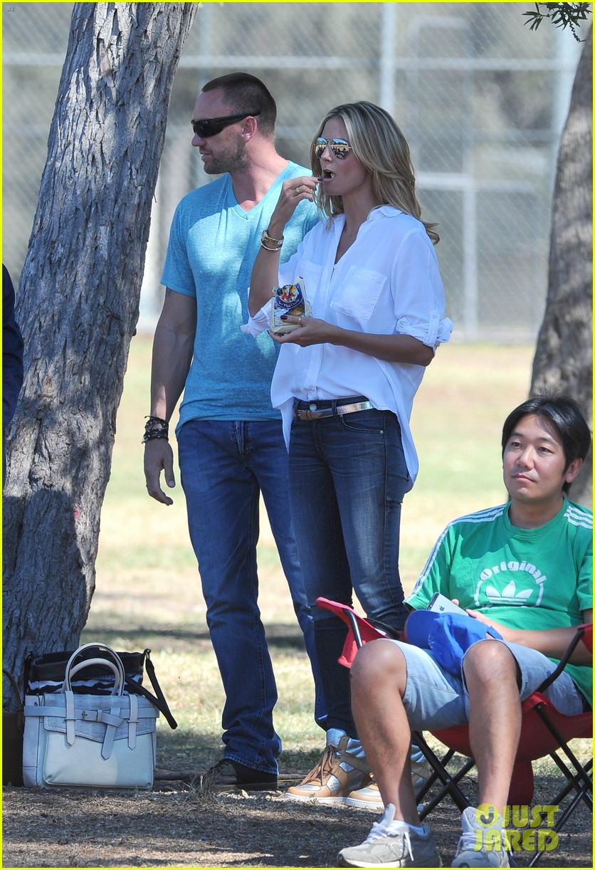 heidi klum tends to henry bloody nose soccer game 242962706