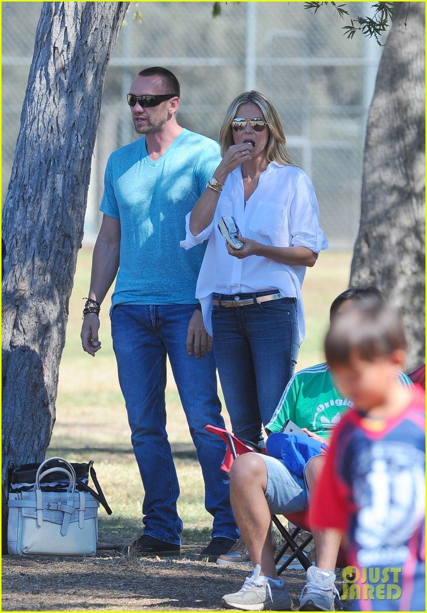 heidi klum tends to henry bloody nose soccer game 262962708