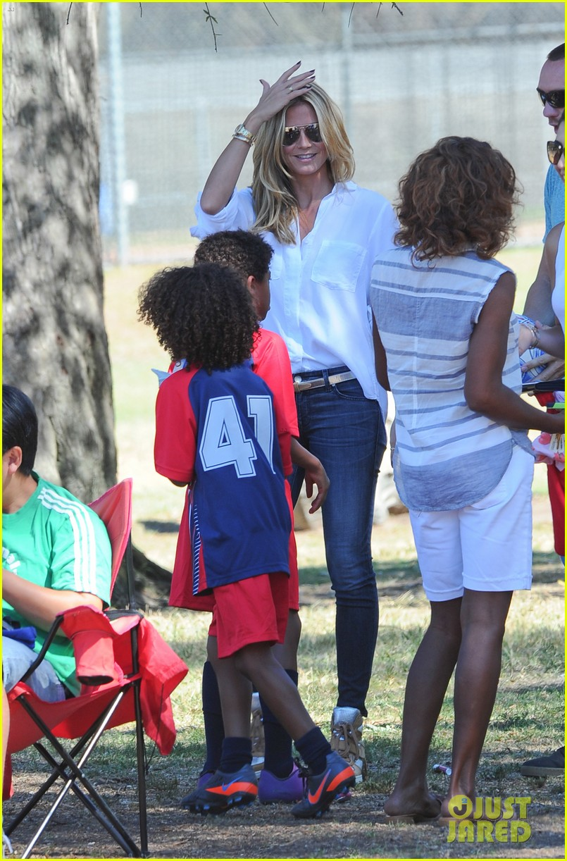 heidi klum tends to henry bloody nose soccer game 282962710