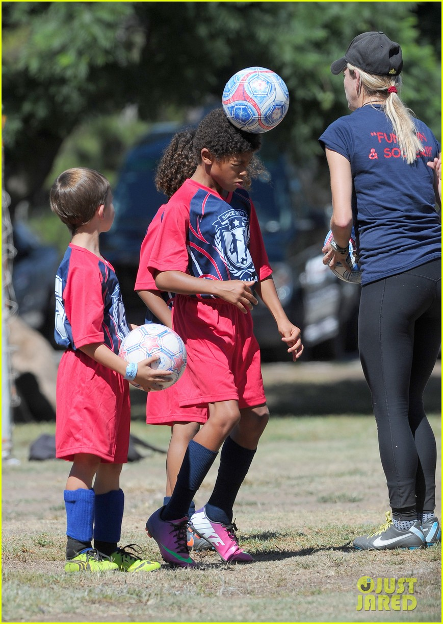heidi klum tends to henry bloody nose soccer game 352962717