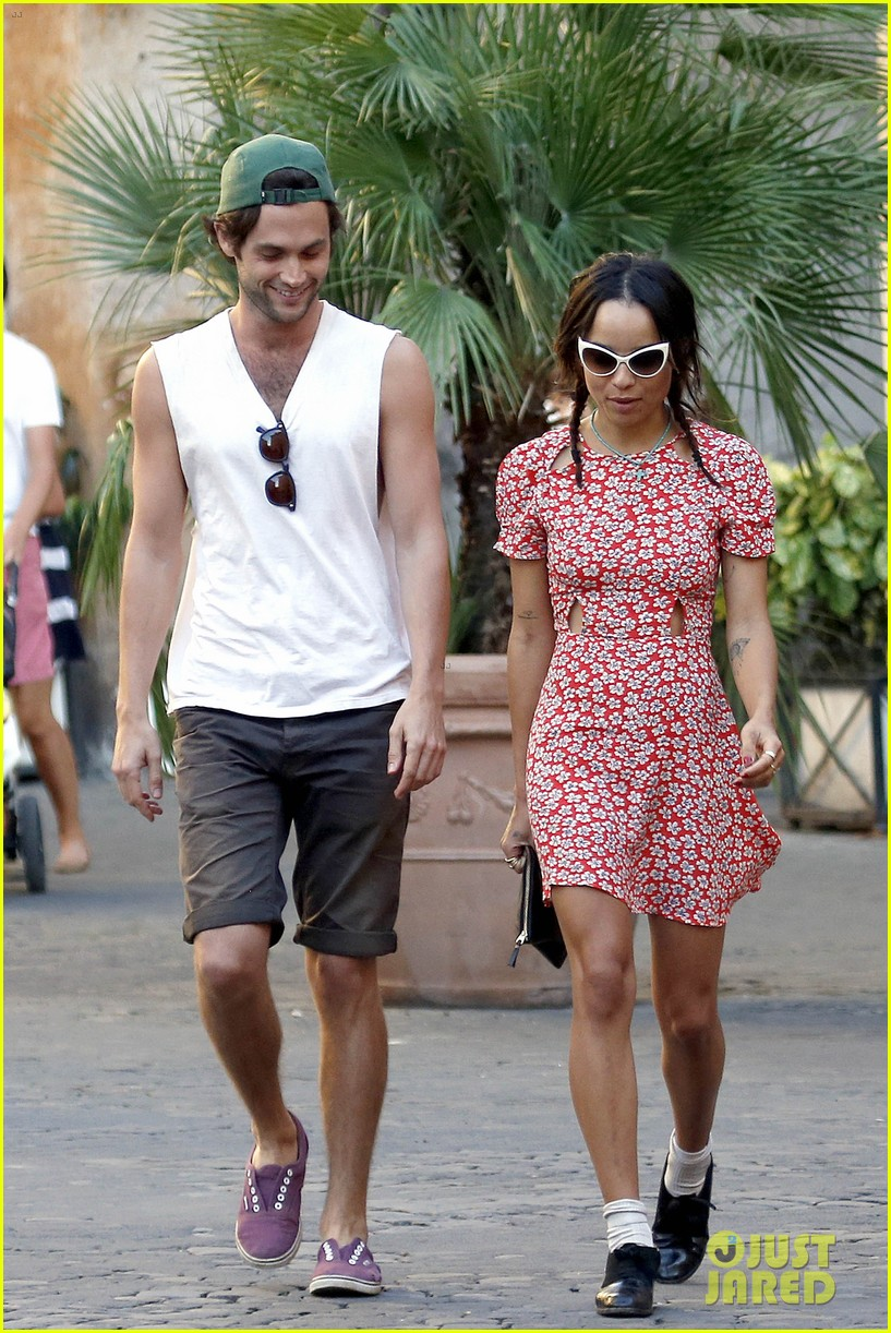 zoe kravitz penn badgley back together in rome 172958566