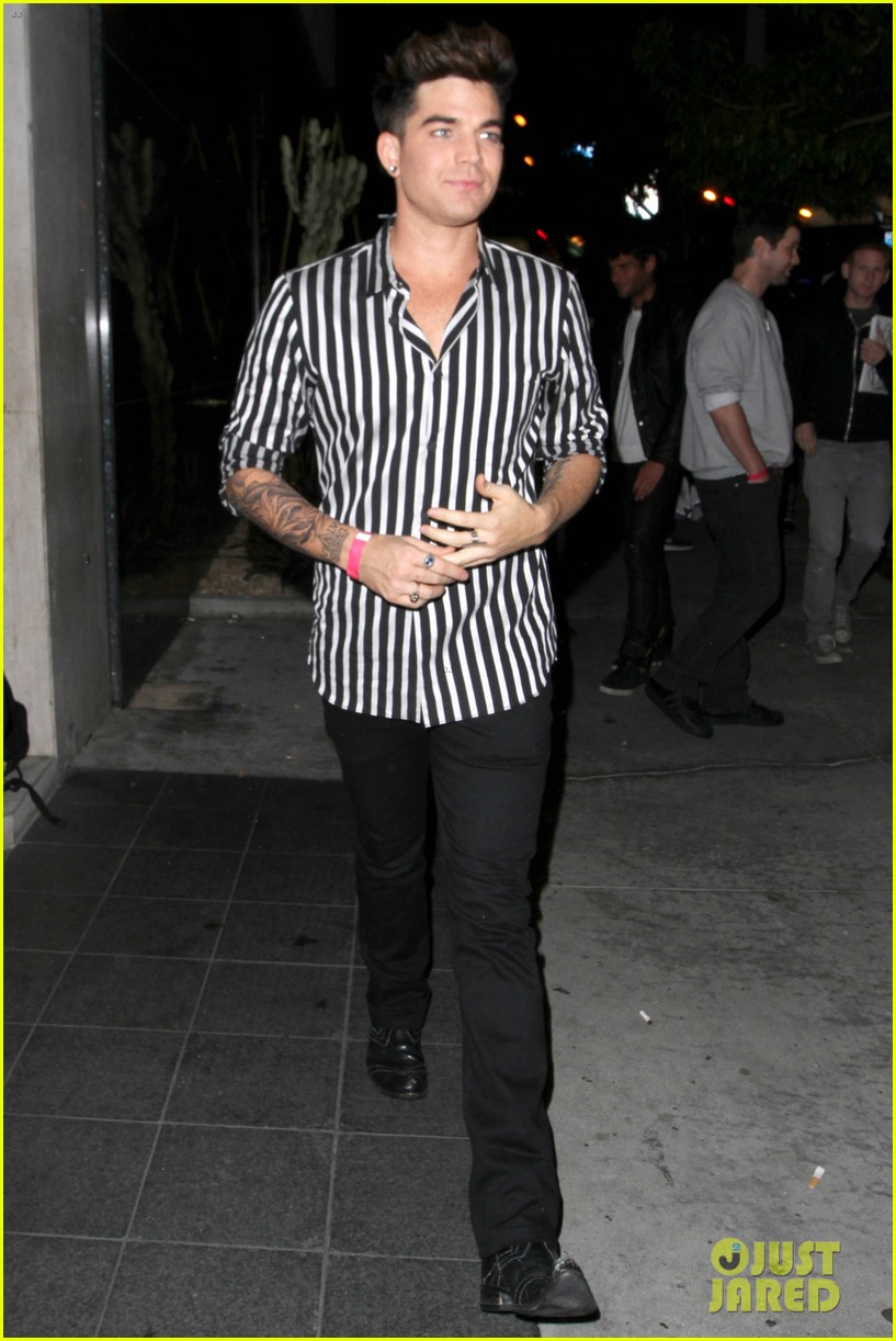 adam lambert smiles wide while heading to bootsy bellows 052961815