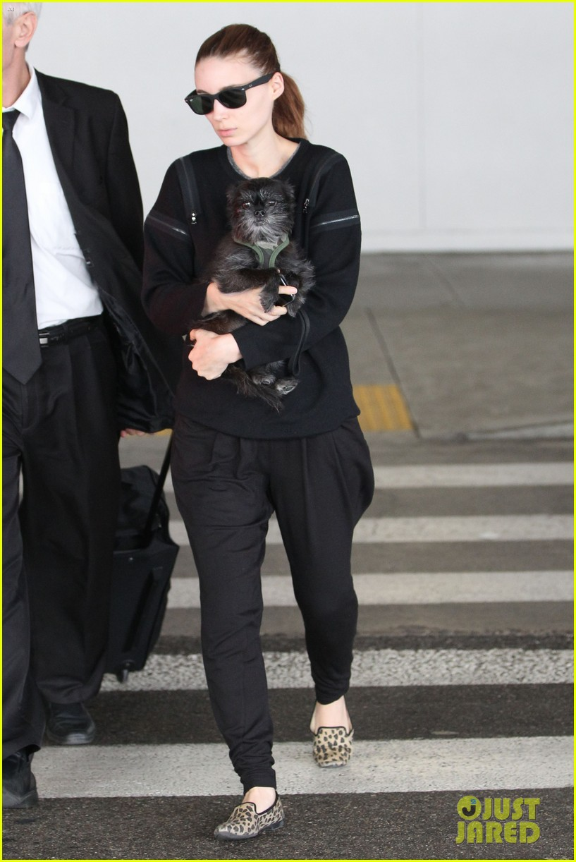 rooney mara holds pet pooch close at the airport 05