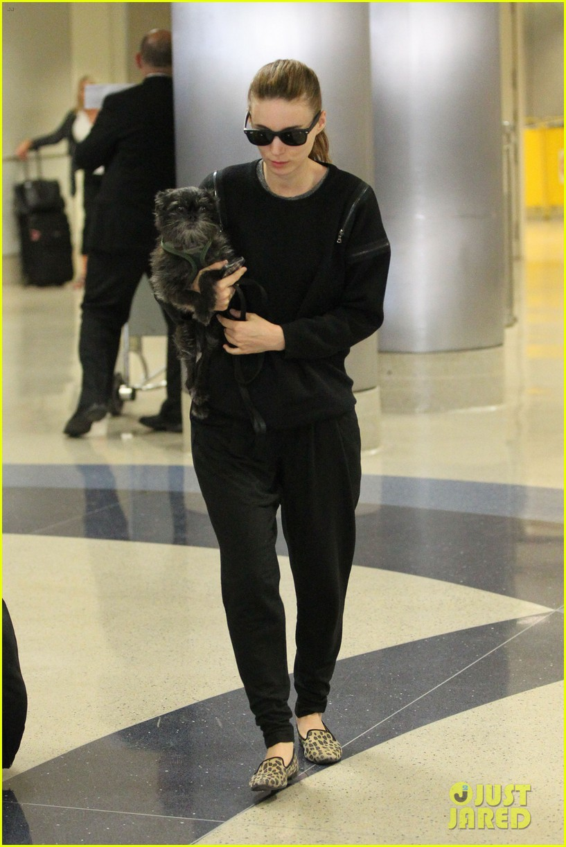 rooney mara holds pet pooch close at the airport 082960781