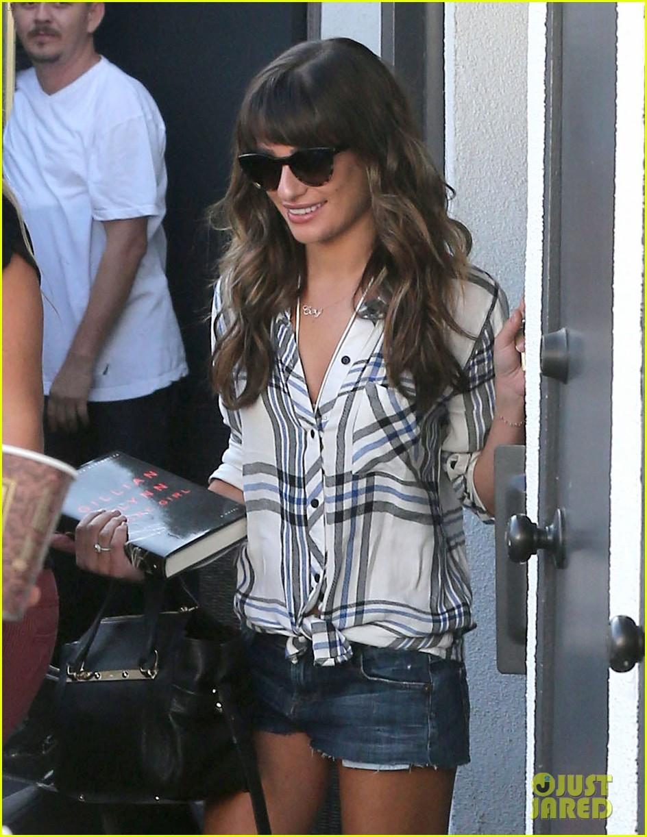 lea michele keeps cory monteith close at the hair salon 022955676