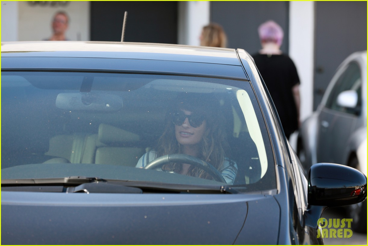 lea michele keeps cory monteith close at the hair salon 29