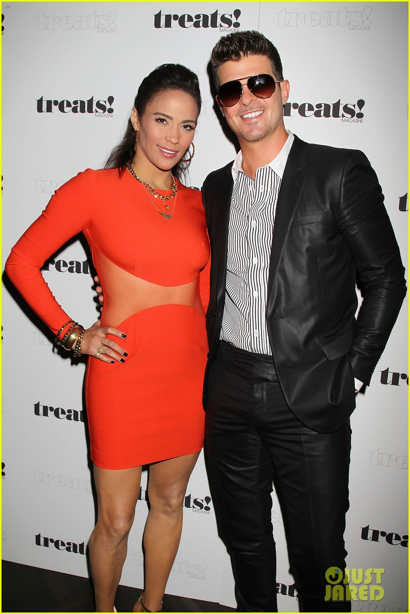 paula patton kisses robin thicke at his album release party 092944326