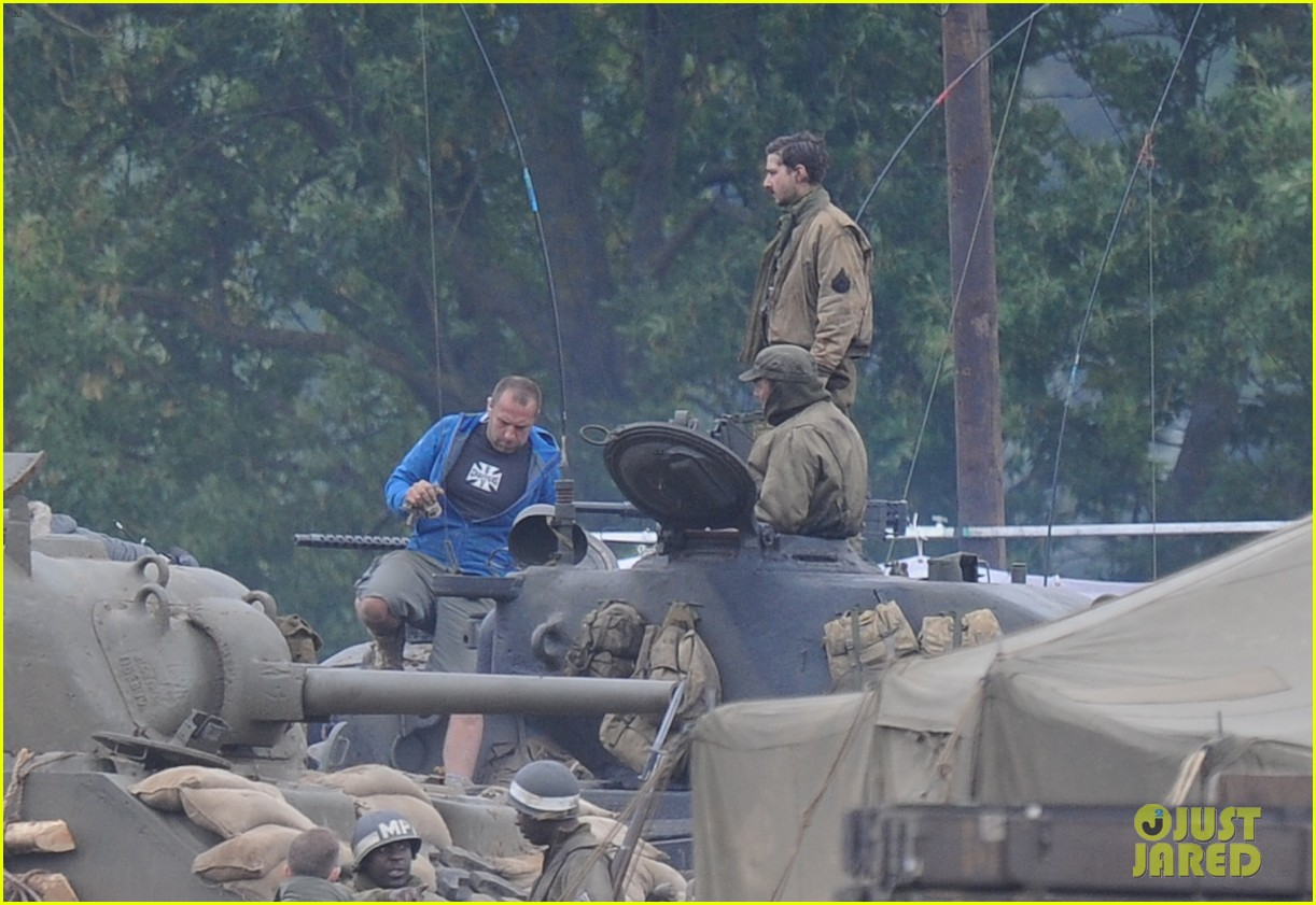 brad pitt rocks slicked back hair army outfit on fury set 112963201