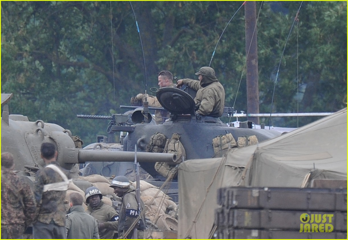 brad pitt rocks slicked back hair army outfit on fury set 162963206
