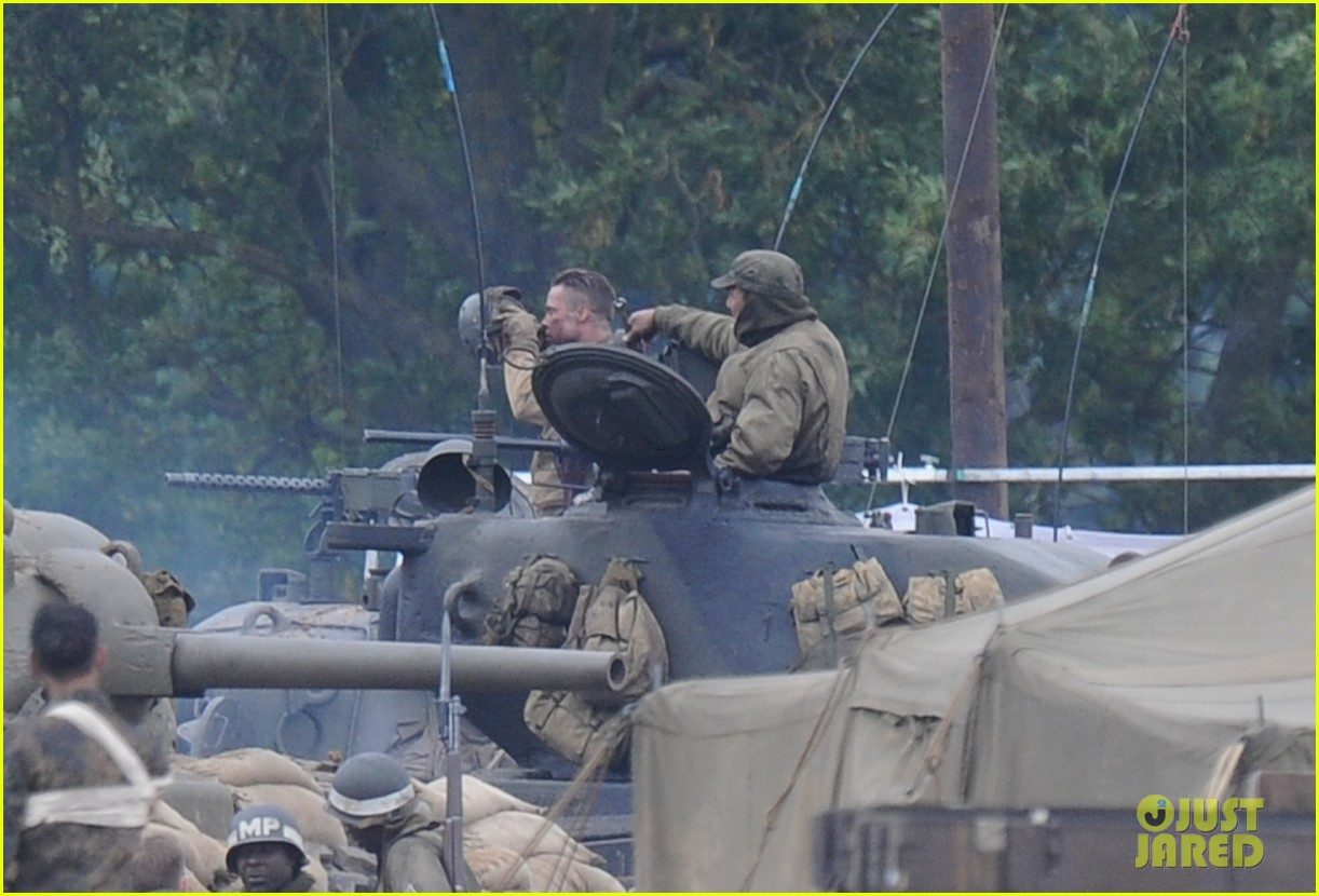 brad pitt rocks slicked back hair army outfit on fury set 172963207