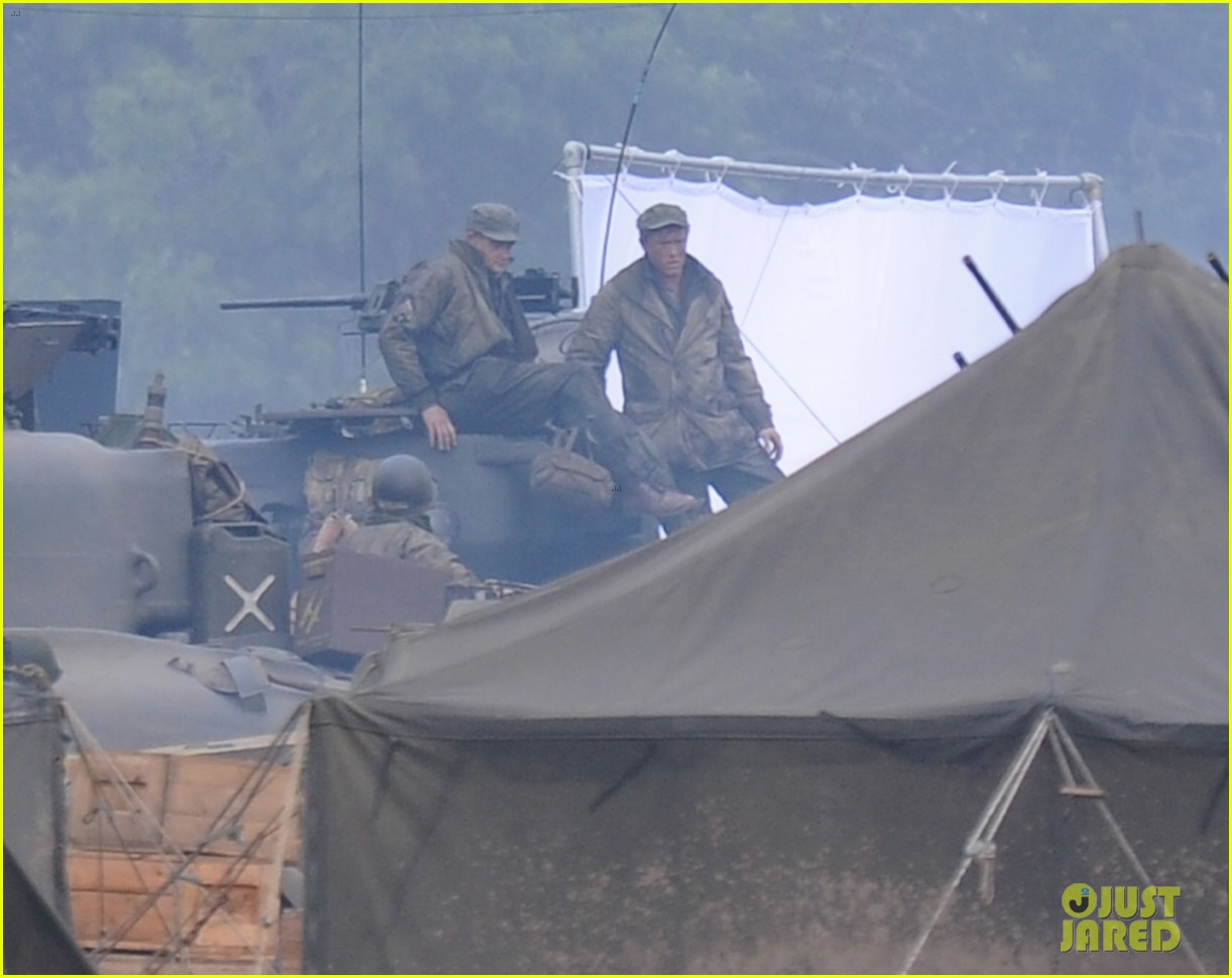 brad pitt rocks slicked back hair army outfit on fury set 192963209