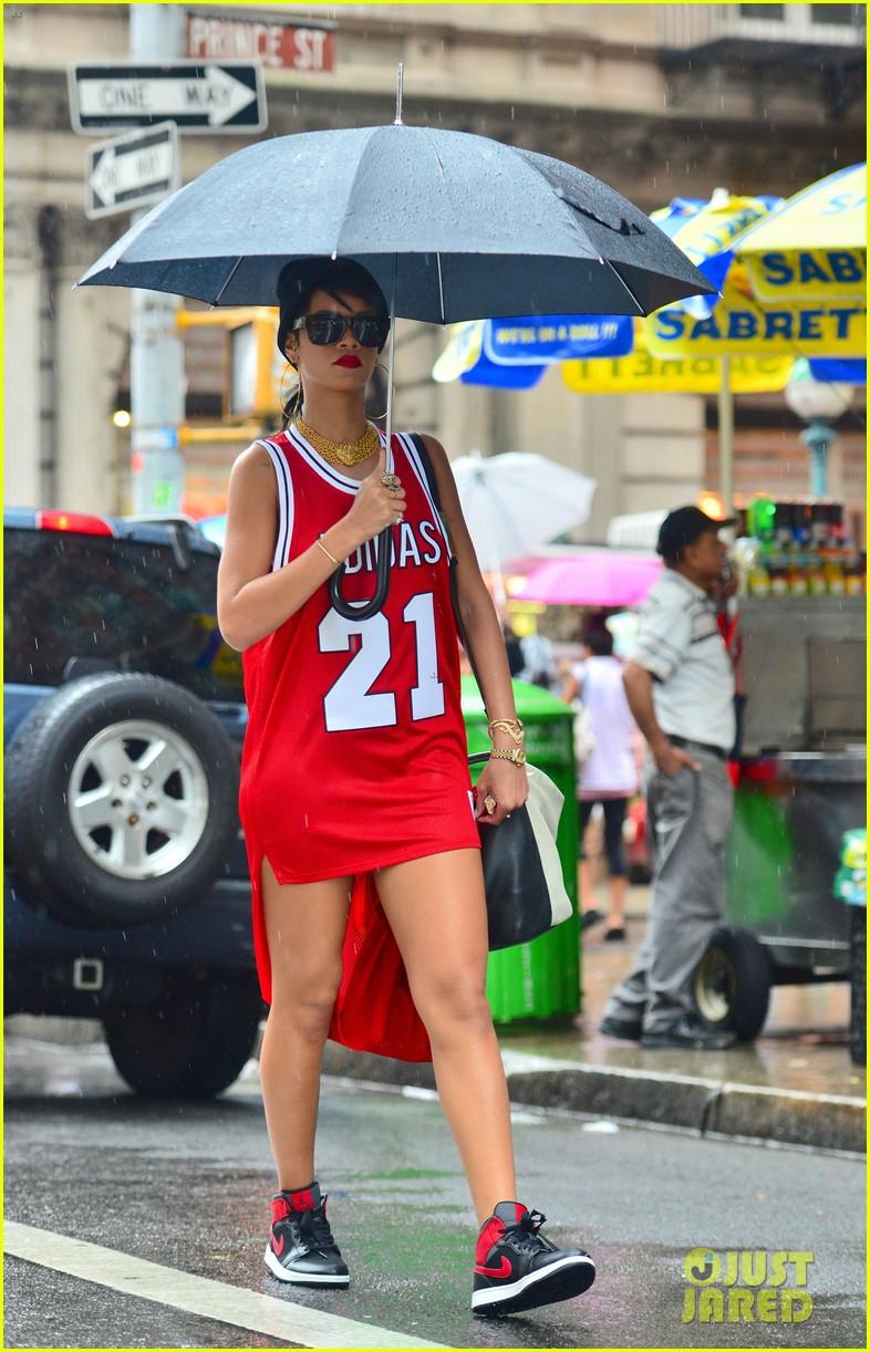 rihanna wears basketball jersey dress in rainy nyc 052942585