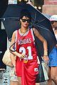 rihanna wears basketball jersey dress in rainy nyc 18