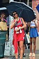 rihanna wears basketball jersey dress in rainy nyc 19