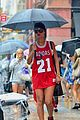 rihanna wears basketball jersey dress in rainy nyc 20