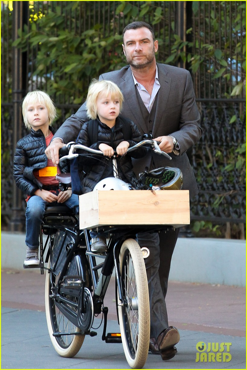 liev schreiber suits up for bike ride with his boys 08