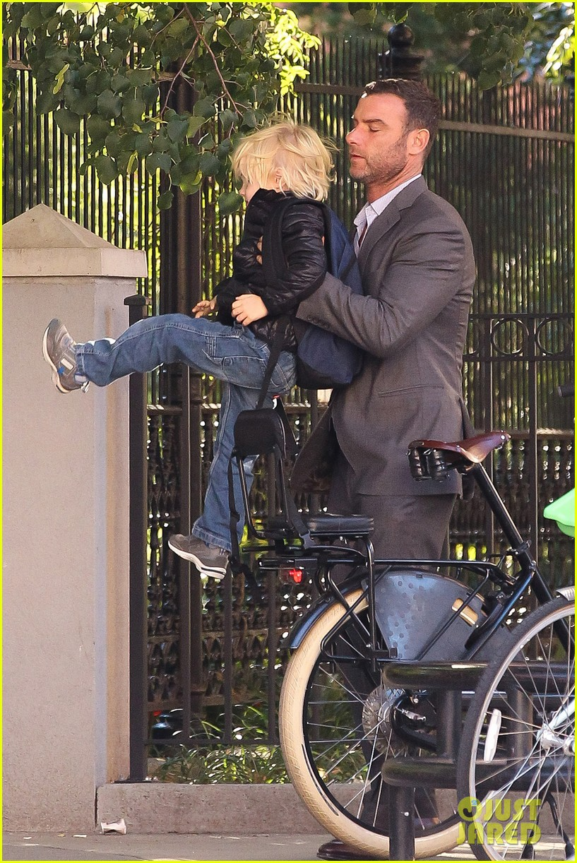liev schreiber suits up for bike ride with his boys 14