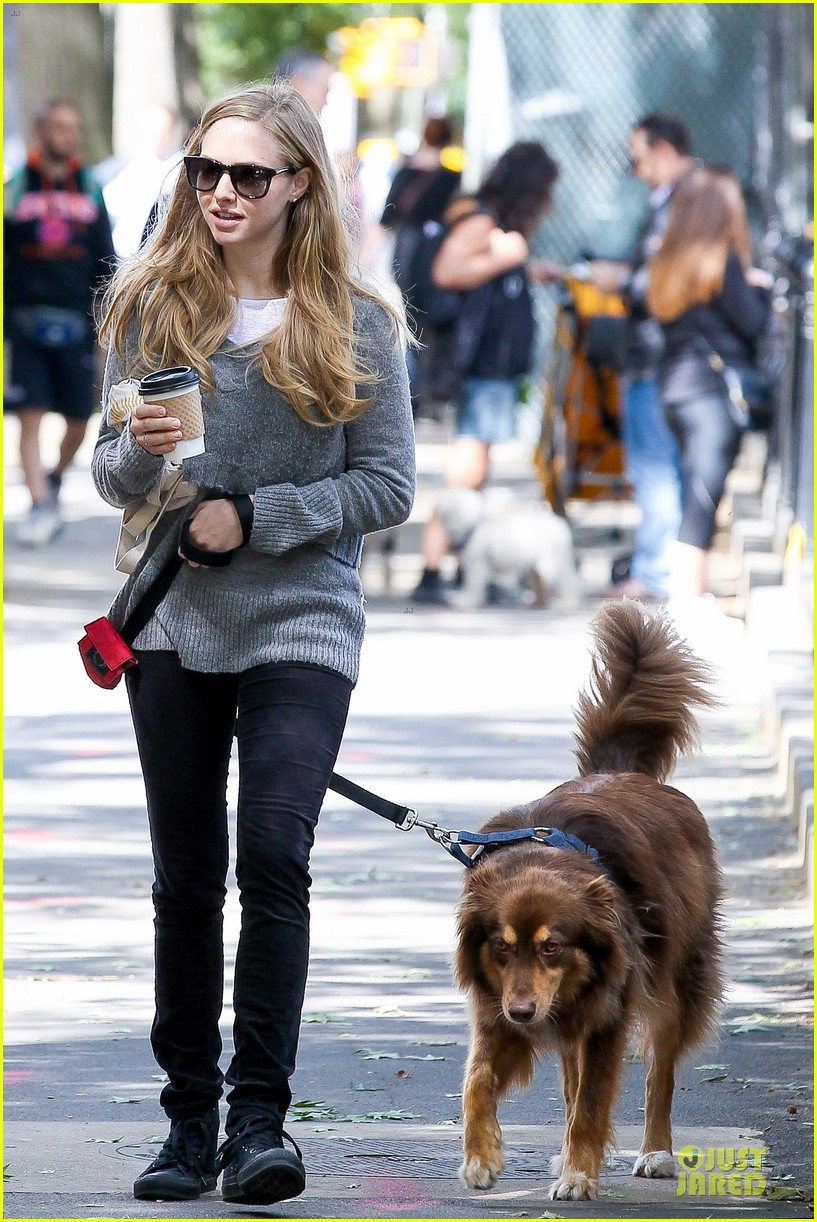 amanda seyfried kisses finn during friday walk 082952430