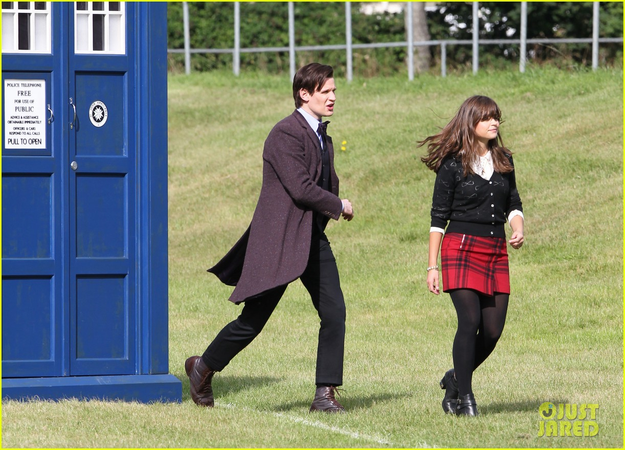 matt smith films doctor who christmas special with jenna coleman 012949165