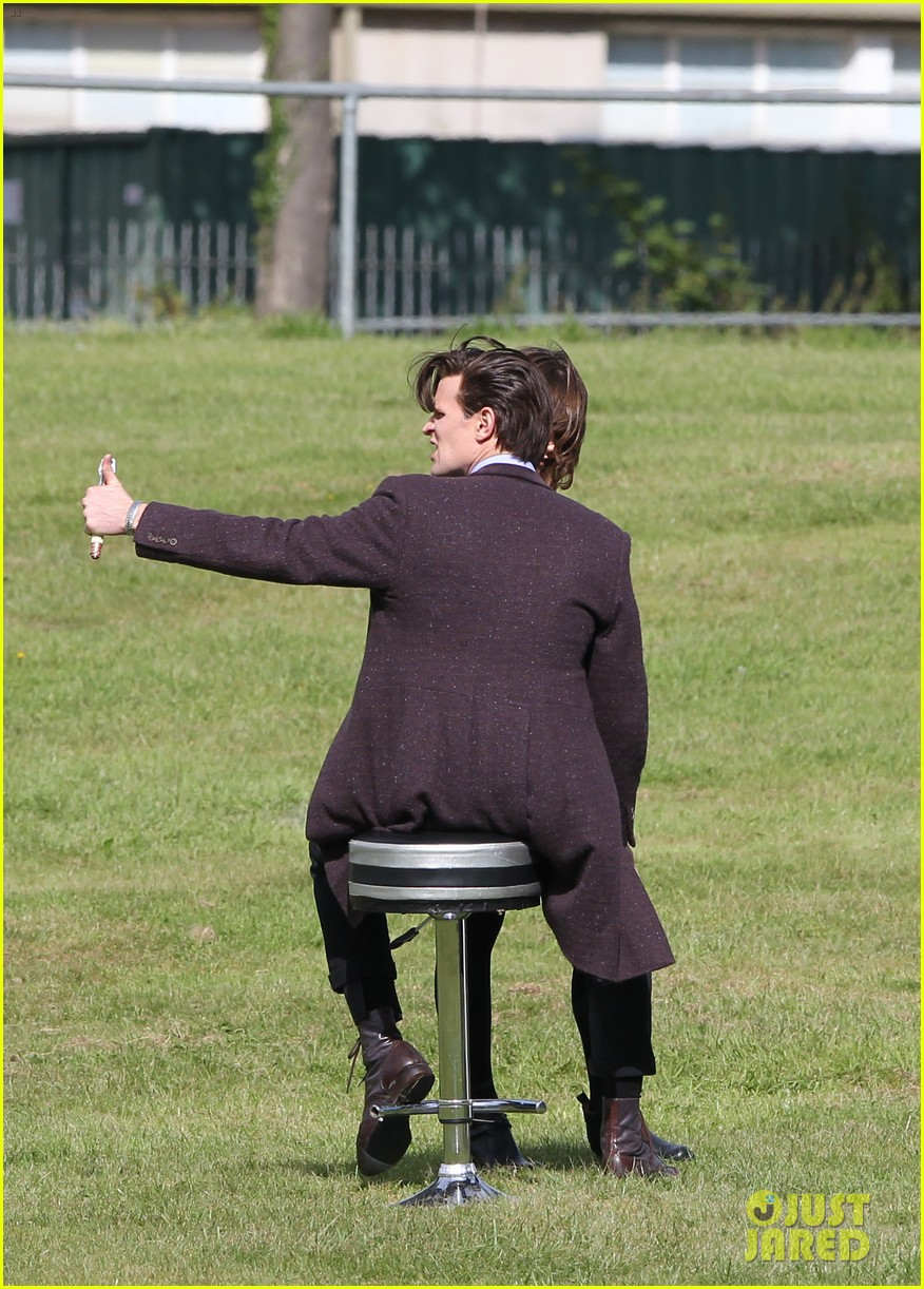 matt smith films doctor who christmas special with jenna coleman 102949174