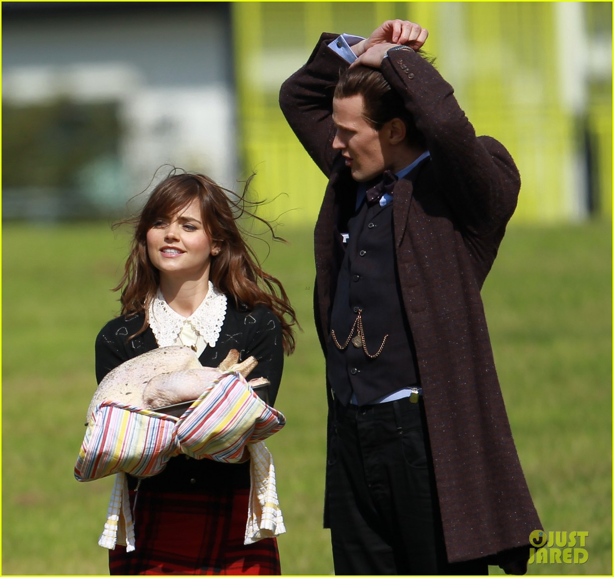 matt smith films doctor who christmas special with jenna coleman 182949182