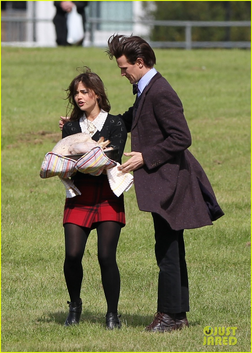 matt smith films doctor who christmas special with jenna coleman 202949184