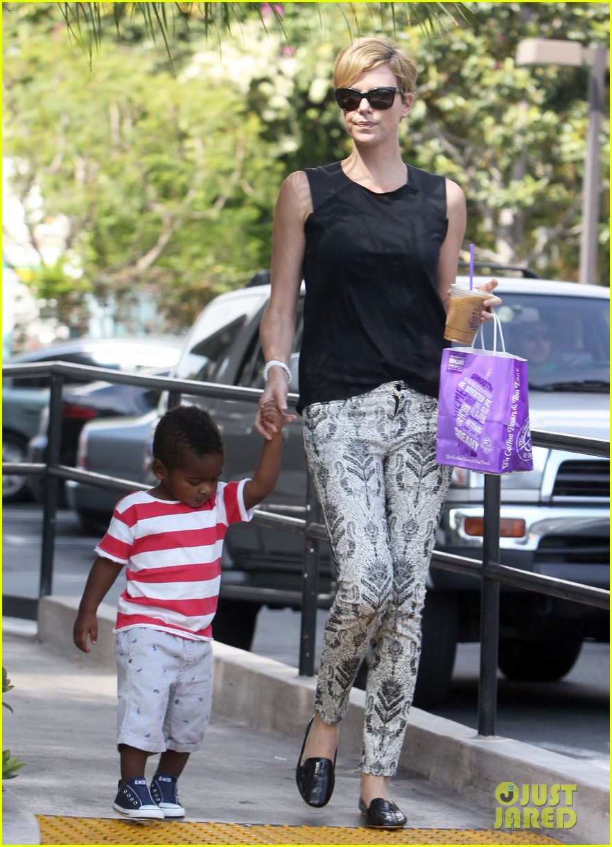 charlize theron grabs coffee with her little man jackson 052960106