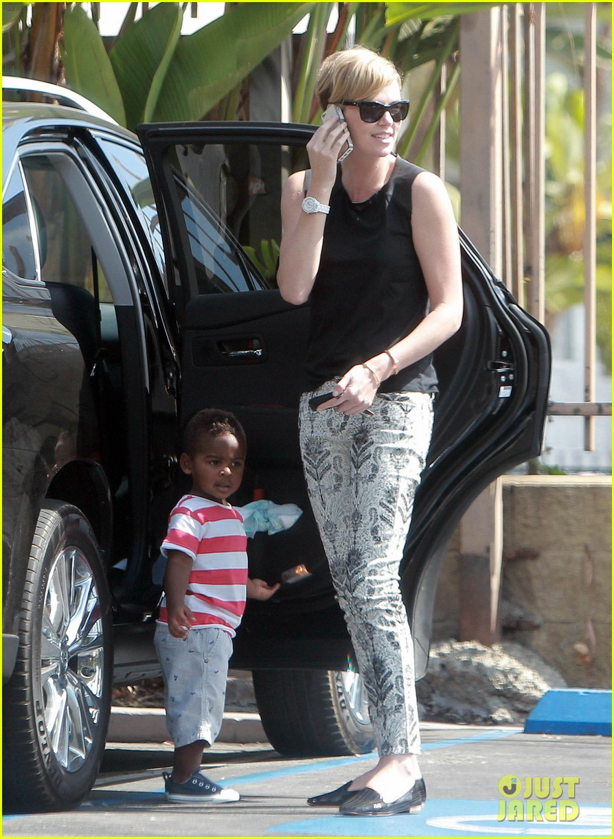 charlize theron grabs coffee with her little man jackson 152960116