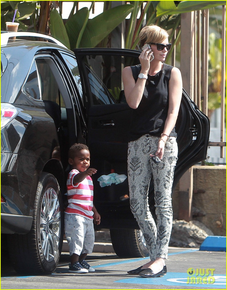 charlize theron grabs coffee with her little man jackson 192960120