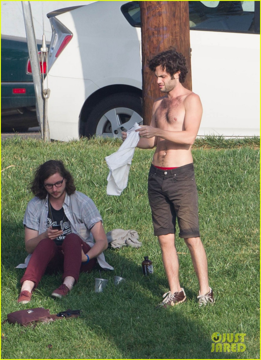 penn badgley goes shirtless in the park 012981726