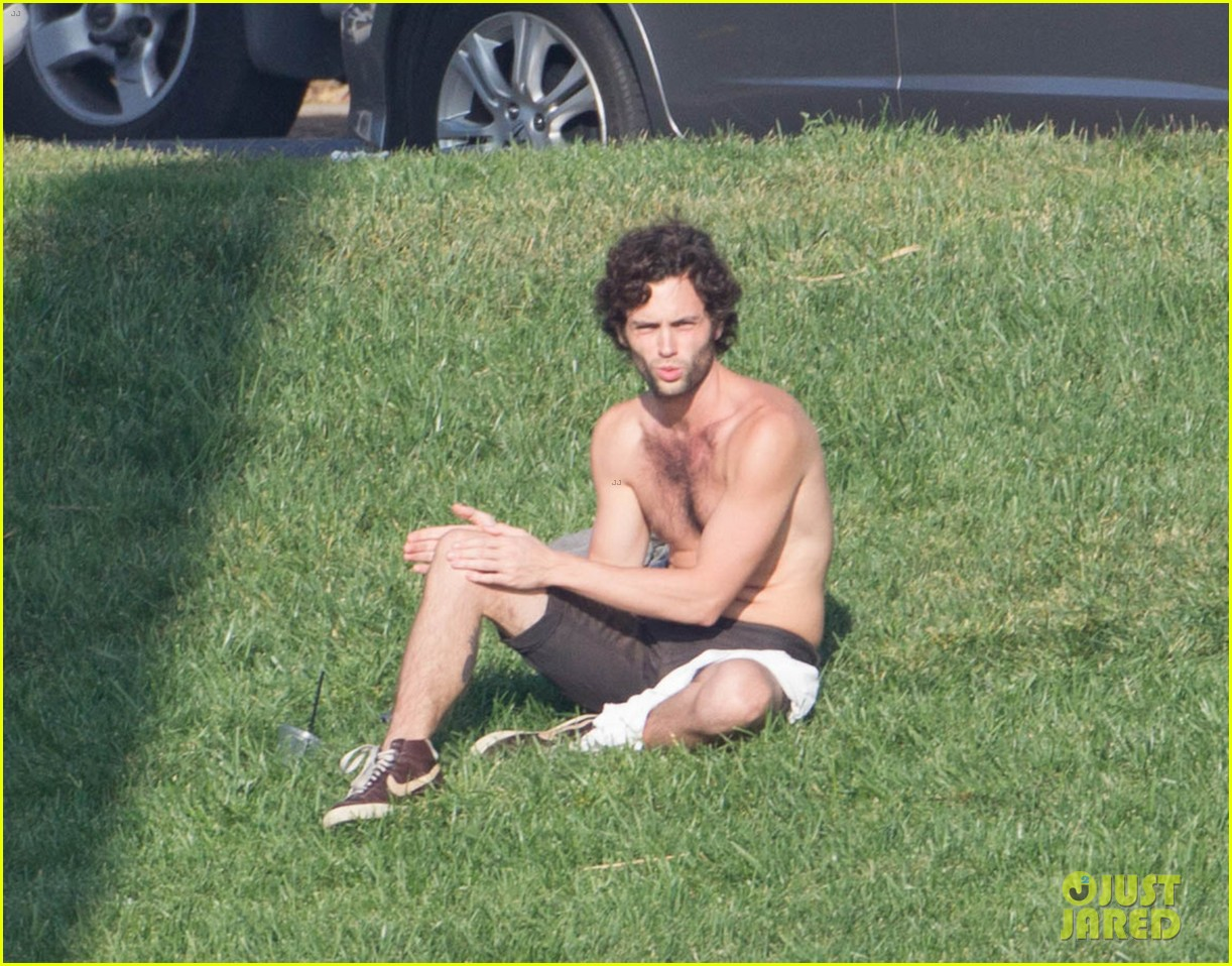 penn badgley goes shirtless in the park 042981729
