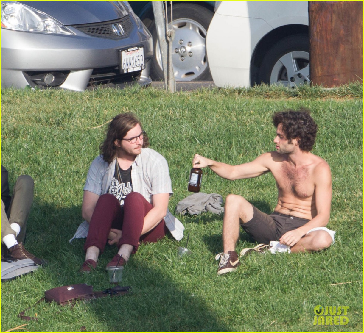 penn badgley goes shirtless in the park 08