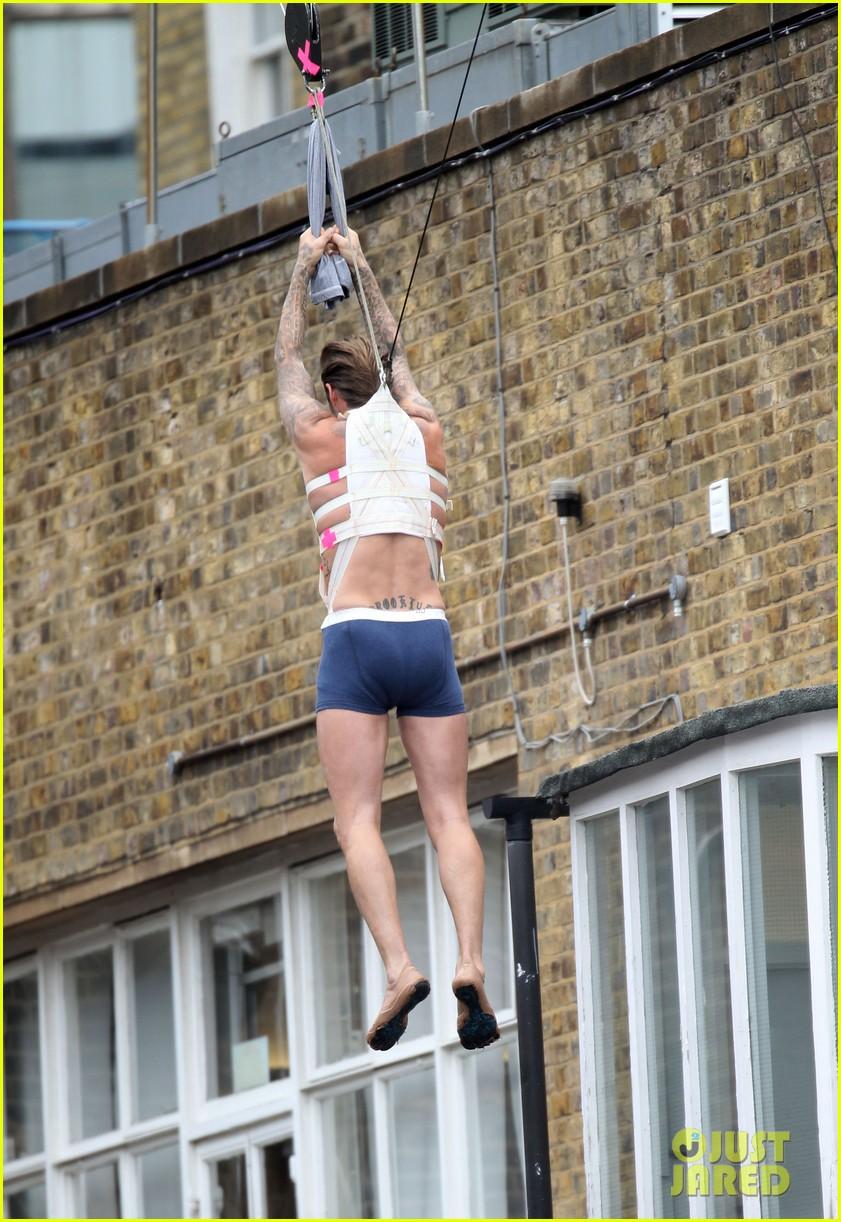 david beckham shows underwear shirtless body flies through air for hm 092964518