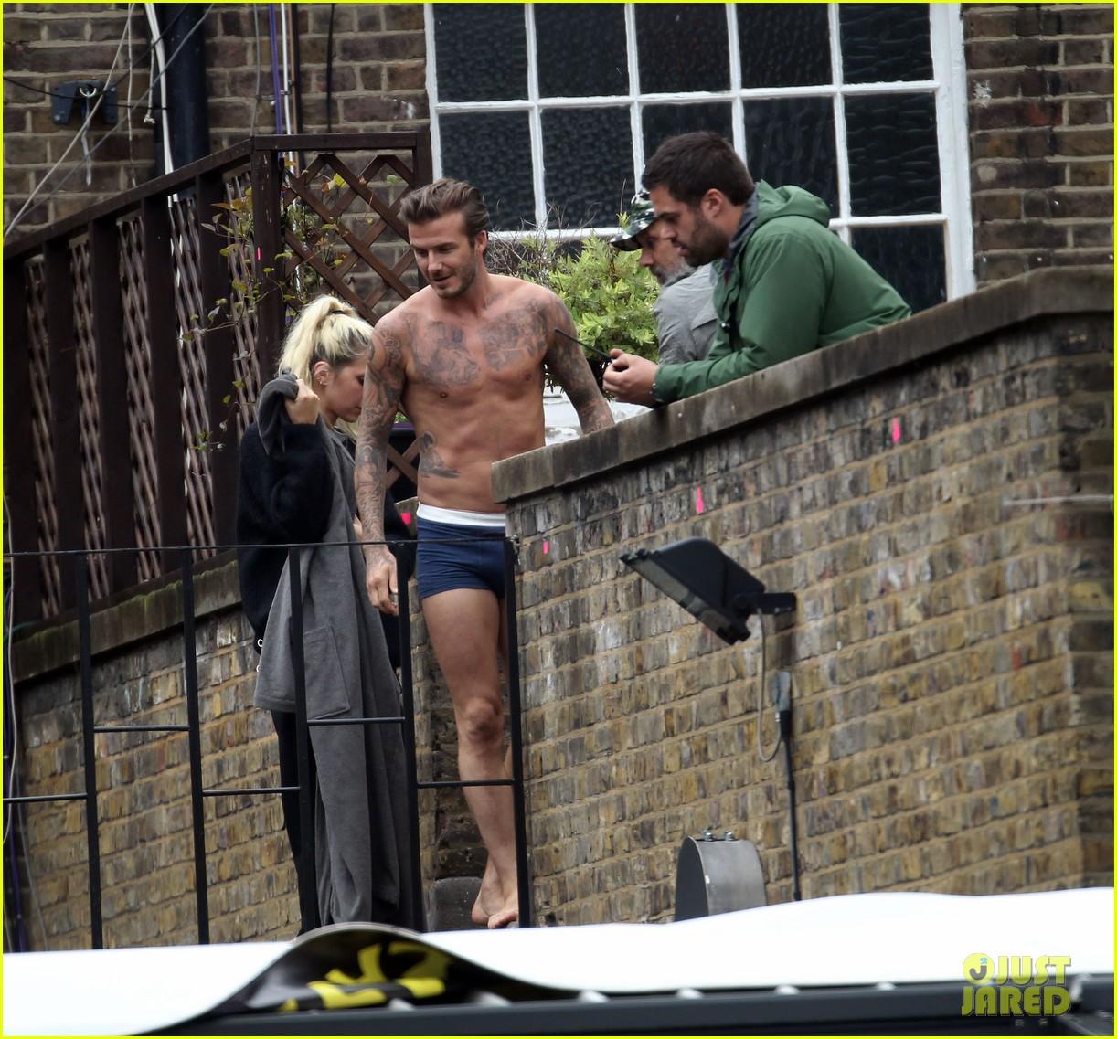 david beckham shows underwear shirtless body flies through air for hm 142964523