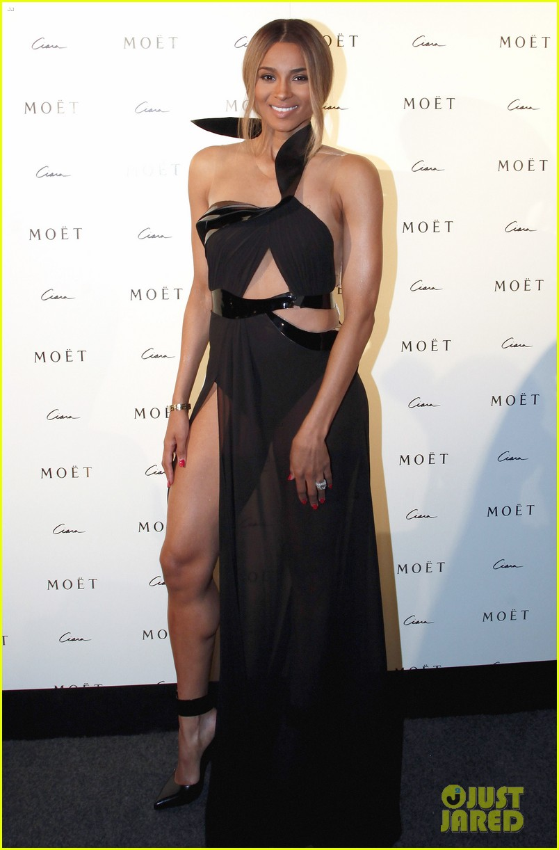 ciara shows off engagement ring at moet rose lounge 022982194