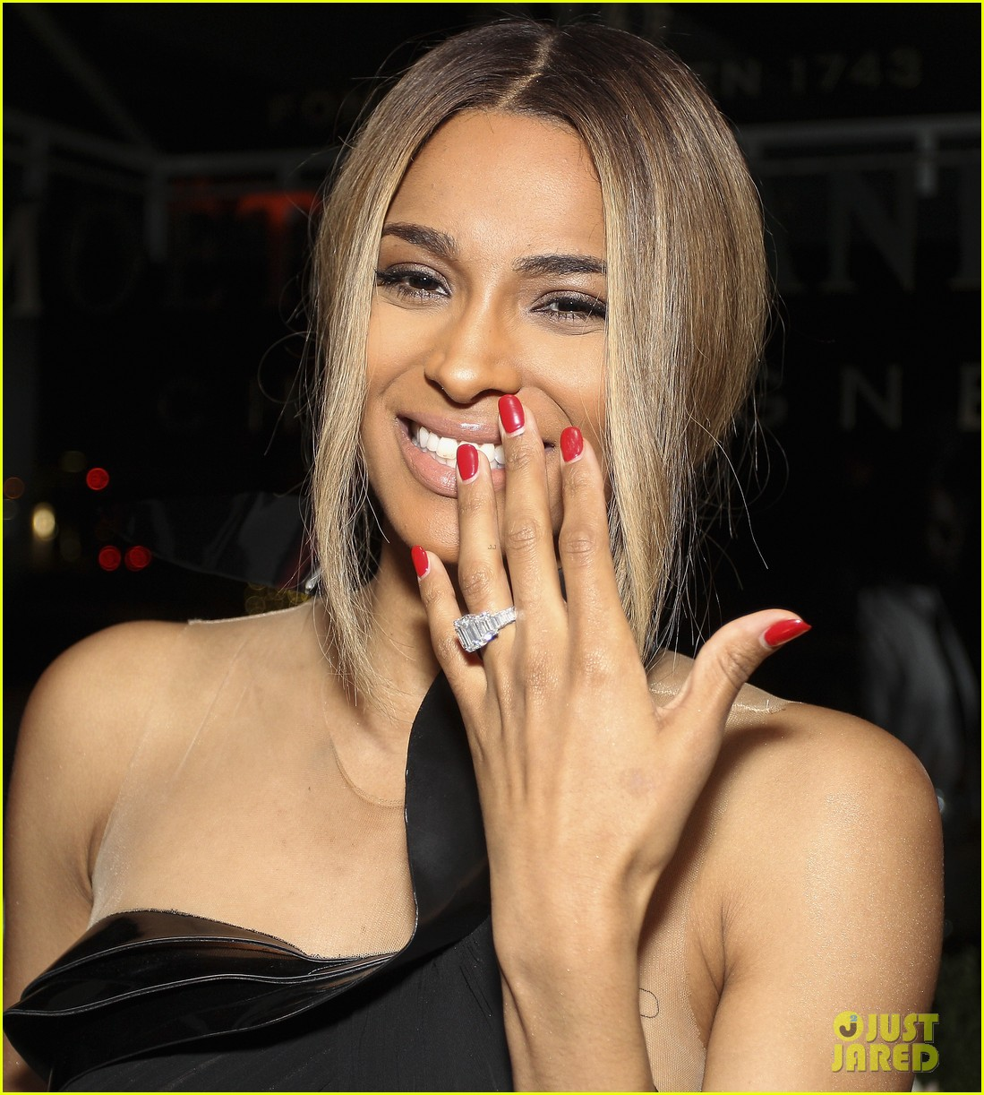 ciara shows off engagement ring at moet rose lounge 092982201