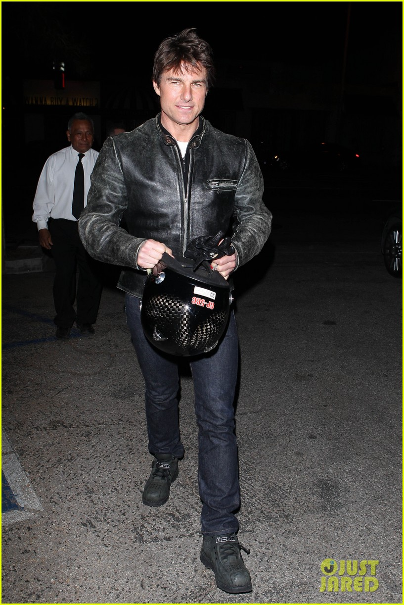 tom cruise rides motorcycle for lucas on sunset dinner outing 152973544