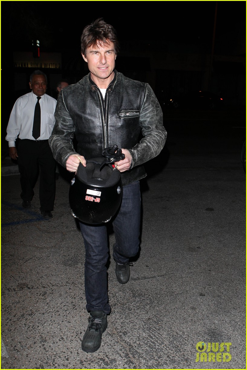 tom cruise rides motorcycle for lucas on sunset dinner outing 162973545